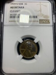 1909-s Vdb Lincoln Cent Ngc Au Details. No Spots, Dings, Or Scratches. Toned.