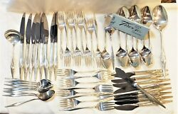 Mid Century Modern Sterling Silver 51 Piece Set Svc For 8 Wallace Evening Mist