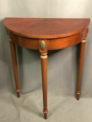 The Bombay Company Vintage Half Moon Wood Console Accent Table Cherry Demilune
