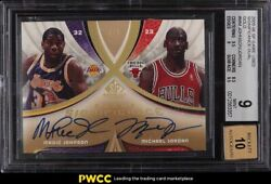 2005 Sp Game Used Significance Gold Magic Johnson And Michael Jordan Auto /5 Bgs 9
