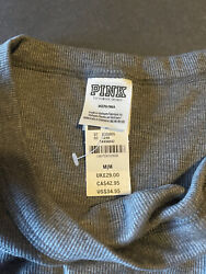 Pink Victoria Secret tee shirt in gray color. Women's size medium long sleeves $24.99
