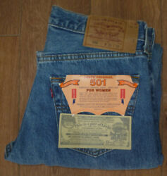 Made In Usa Ladies 90s Levi 501 W31 L32 Mid Blue High Waist Vintage Jeans