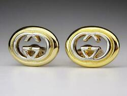 Italy Central Hollow Gg Silver Gold Logo Engraved Cufflinks