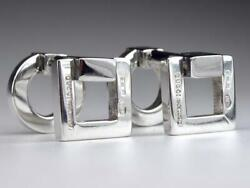Silver925 Square Circle Cufflinks Made In Italy Engraved