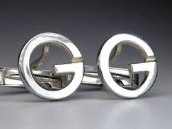 Italy Logo Engraved Silver 925 Large Format G Hollow Cufflinks
