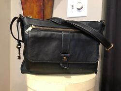 FOSSIL Black Pebbled Leather Crossbody Shoulder Bag $40.00