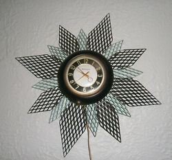 Mastercrafters 1950and039s Atomic Starburst Wall Clock With Backlight Works Great