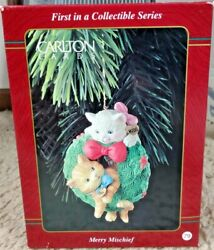 1996 Carlton Cards Ornament Merry Mischief Makers First 1st Issue Cats In Wreath