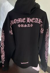 New 2xl Chrome Hearts Matty Boy La Exclusive Pink Floral Pullover Hoodie