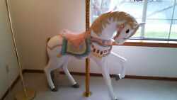 Full Size Carousal Horse W/ Brass Pole,solid Wood, Excellent Condition