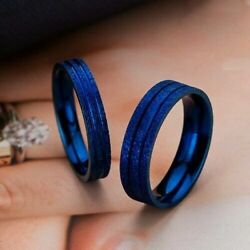 4/6mm Stainless Steel Band Menwomens Blue/black/gold/silver Couple Rings Sz 6-13
