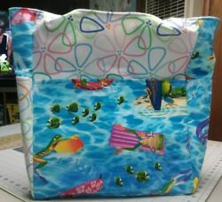 Frogs Swimming Pool Raft Surfboard Summer Large Purse Project Bag Handmade