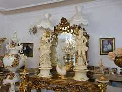Porcelain Italy Baroque Style Figurine Lamps Pair S65