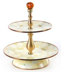 New Mackenzie-childs Parchment Check Enamel Two Tier Sweet Stand
