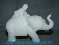 10 Antique Chinese White Jade Carving Child Ride Elephant Statue Sculpture