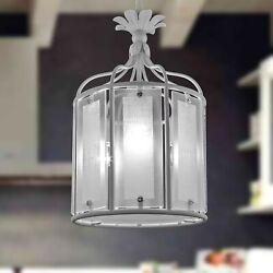 Chandelier Theshold 3 Lights Lantern Cage Wrought Iron With Glass Silk Screened