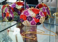Judith Leiber Crystal Flower Poppy Pansy Floral Minaudiere Clutch Bag