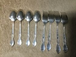 Wm Rogers And Son Is Victorian Rose Fork And Spoon. 4 Each