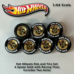 Hot Wheels Gold 4 Spoke With Black Tires And Axles 11.5mm.