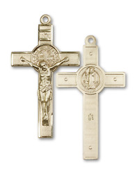 Bliss St. Benedict 1 3/4 Inch 14kt Gold Crucifix Cross Necklace