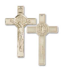 Bliss St. Benedict 1 3/4 X 1 Inch 14kt Gold Crucifix Cross Necklace