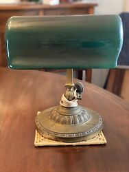 Antique Bankers Lamp Green Shaded Dated Signed Verdelite 1917