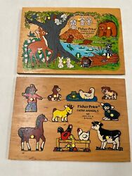 Vintage Fisher Price Wooden Knob Puzzle Animals And Babies And Farm Animals Euc