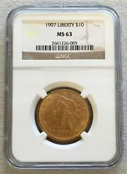 1907 Gold Us 10 Liberty Head Eagle Coin Ngc Mint State 63