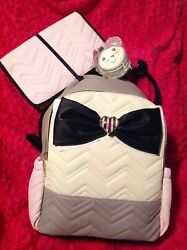 Betsey Johnson BABY BACKPACK DIAPER BAG LUGGAGE Pink Gray Girl NEW Shoulder $149.99