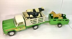 Vintage Metal Nylint Farms Truck With Trailer And Livestock Horses And Cattle
