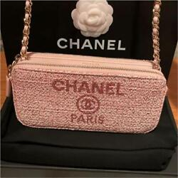 Deauville Chain Wallet Bag Pink X Gold Metal Fittings