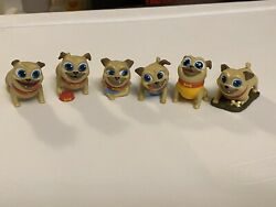 Rolly Lot Of 6 Puppy Dog Pals Travel Pets Disney Junior Mystery Figurines