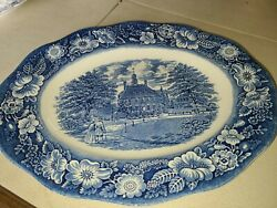 Staffordshire Liberty Blue Governors House Williamsburg 12 Oval Serving Platter