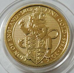 2016 Gold Great Britain 1/4 Oz 25 Pound Lion Of England Queenand039s Beast In Capsule