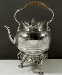 Martin And Hall English Sterling Silver Teapot Tea Kettle Burner Stand C1889