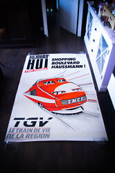 French Tgv Train 1980and039s 4x6 Ft Shelter Original Vintage Food Advertising Poster