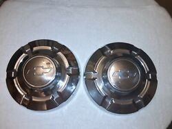 2 Vintage 1960and039s 1970and039s 1980and039s Chevy Chrome Blue Bow Tie 12 Inch Hubcaps