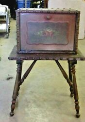 Vtg Humidor Cabinet Table Tobacco Cigars Smoking Copper Lined 31x22x13 Sale