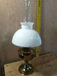 Vintage Aladdin Model 23 Brass Oil Lamp With Milk Glass Shade As-is Read Descrip