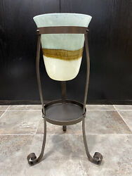 Rare Partylite Tall Candle Stand Blue Brown Glass Large Holder Party Lite