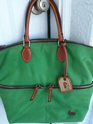 Dooney amp; Bourke Green Nylon with Brown Leather Trim Tote Shoulder Bag Large $39.99