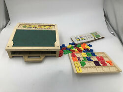Rare Vintage 1972 Fisher Price School Days Play Desk Magnetic Letters Numbers