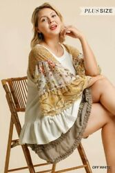 Umgee Waffle Knit Floral Print Ruffle Sleeve Top Size S M L + Plus Size Xl
