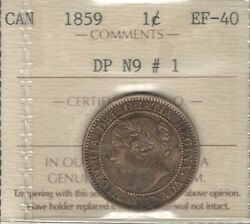 1859 Dp N9 1 Large Cent Iccs Ef-40 Super Rare Variety Key Victoria Canada Penny