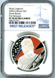 2020 2pd Great Britain 1oz Silver Proof David Bowie Ngc Pf70 Ultra Cam Fi-re Coa
