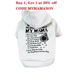 Pet Dog Clothes Cat Puppy Coat My MAMA Hooded Warm Sweater Jacket Clothing