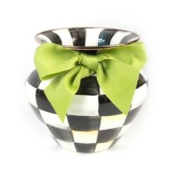 Mackenzie-childs Courtly Check Enamel Vase Green Bow New Msrp 82