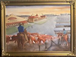 Watercolor Painting-ft Worth Stockyards/cowtown Coliseum-antique Frame-oil Style