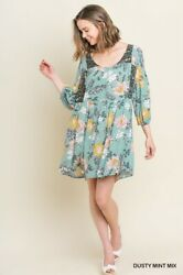 Sml Umgee Dusty Mint Floral Mix Print Button Front Babydoll Dress/tunic Bhcs