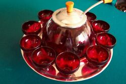 Depression Glass Punch Bowl Toddy Set-rare Ruby Top Prize New Martinsville